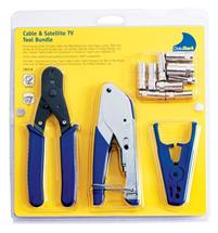 "Cable TV ""F"" Compression Bundle with Cable Cutter Coax Stripper Compression Crimper and 10 RG6 RG6 Quad Cable TV ""F"" Connectors"