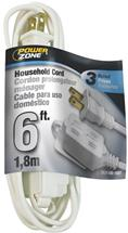 6 ft. White Zip Interior Extension Cord
