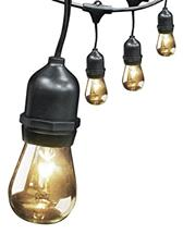 30' 10-Socket, 15 Bulbs, Outdoor String Light Set