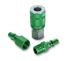 1/4 in. Body Coupler and Plug Kit w/ 1 Male NPT Plug, 1 Female NPT Plug and 1 Coupler Green Anodized, Type B