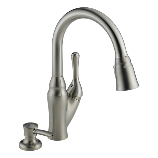 Delta Velino Pull Down Kitchen Faucet With Integrated Soap Dispenser