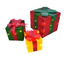 Lighted Gift Box Set Decoration (3-Piece)