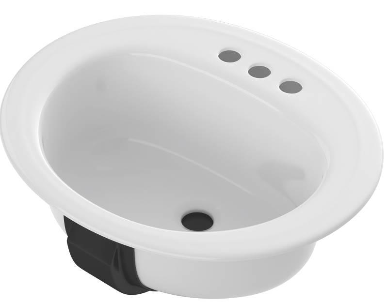 Oval Porcelain Enameled Steel Bathroom Sink, White