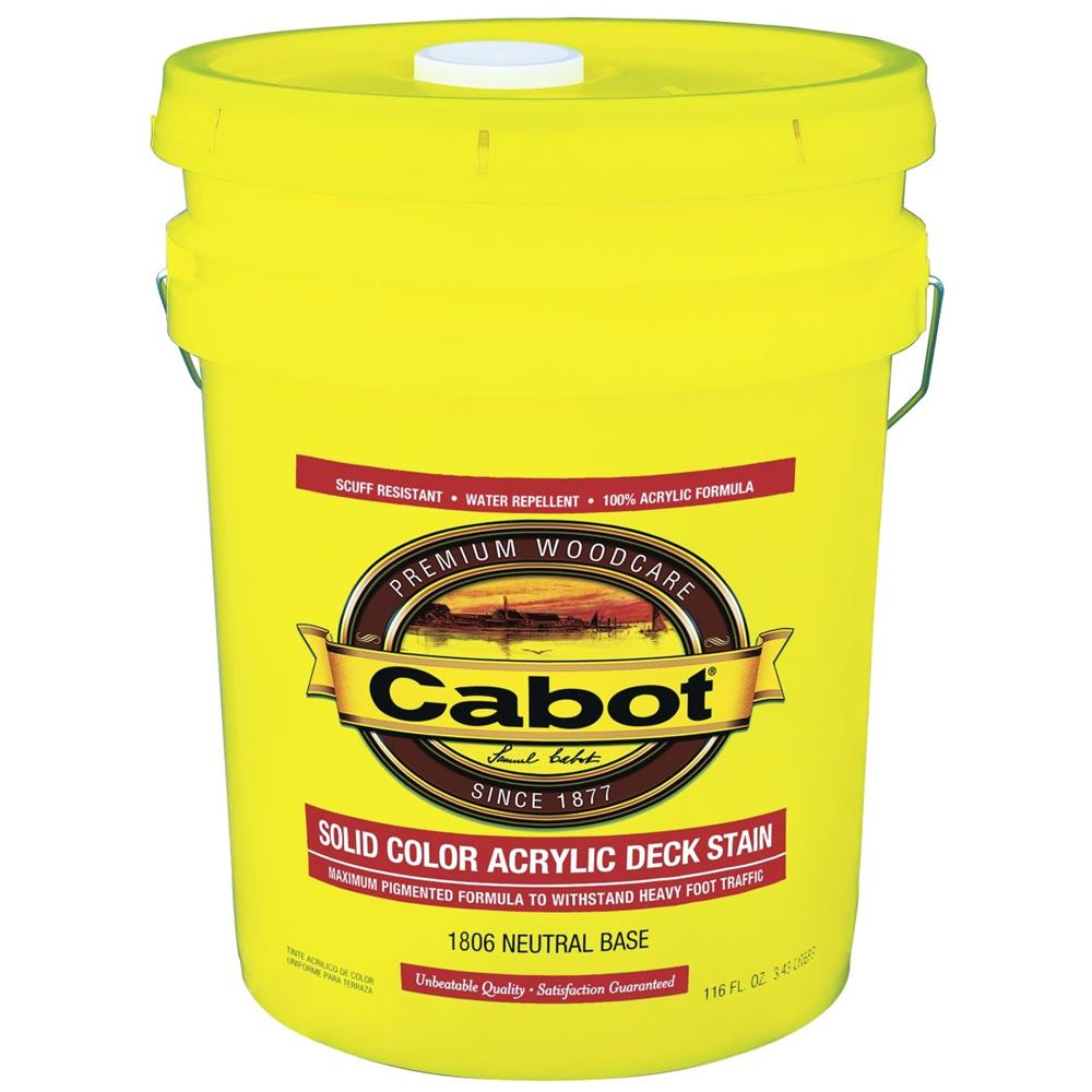 cabot neutral base solid color acrylic decking stain 5 gallon