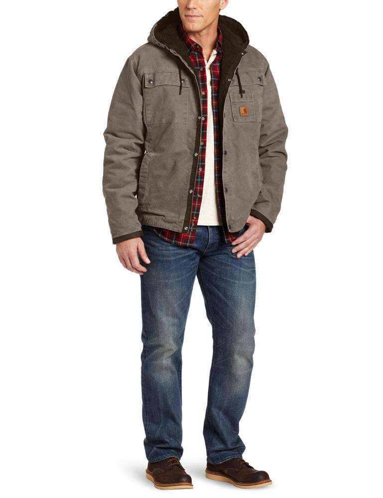 acb5eee1e0c Men s Big   Tall Sherpa Lined Sandstone Hooded Multi Pocket Jacket Gravel