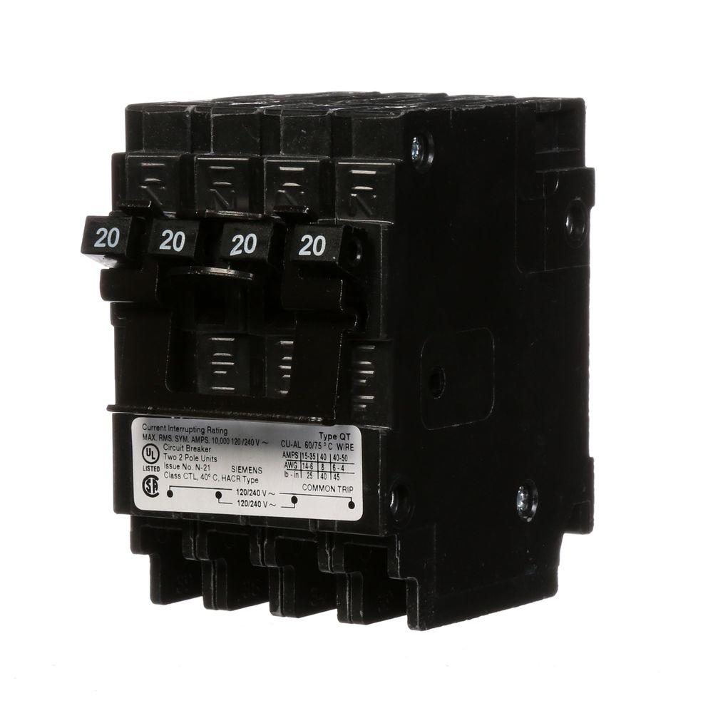 Siemens 20 Amp Quad 2 Pole Circuit Breaker