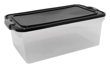 64 Quart Latching Storage Tote, Clear/Black