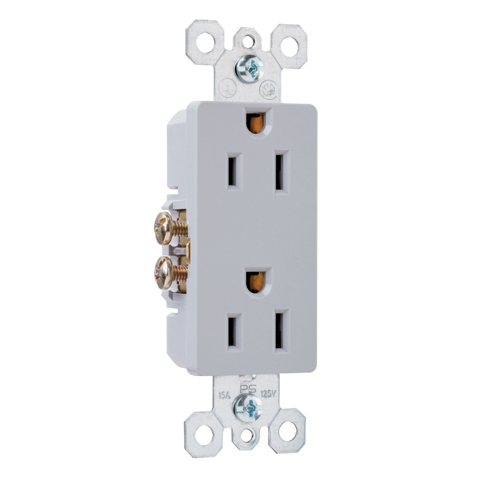 Pass & Seymour - 15 Amp Grey Duplex Decorator Outlet