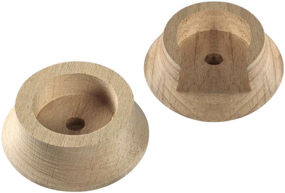 Natural Wood Closet Pole Socket Set