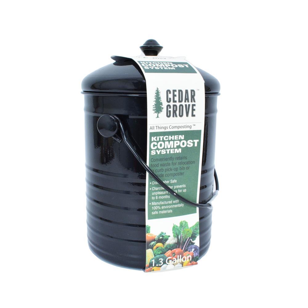 Cedar Grove - Compost Bin with Lid, Black, 1.3-Gallon