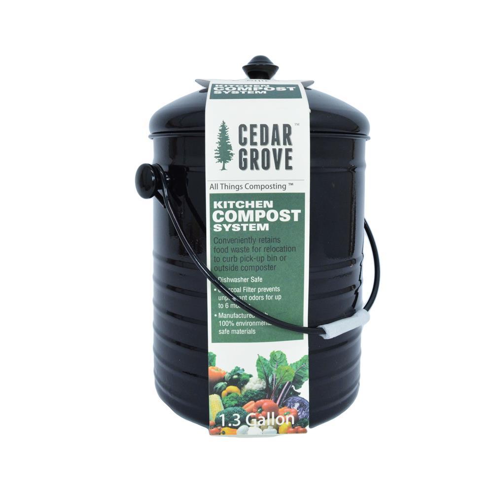 Cedar Grove Compost Bin With Lid Black 1 3 Gallon