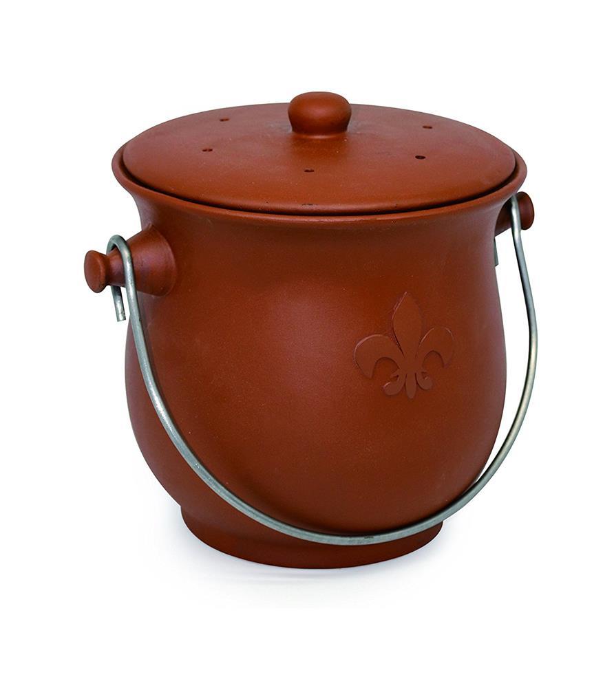 Cedar Grove - Terracotta Ceramic Compost Bin with Lid, 0.75-Gallon