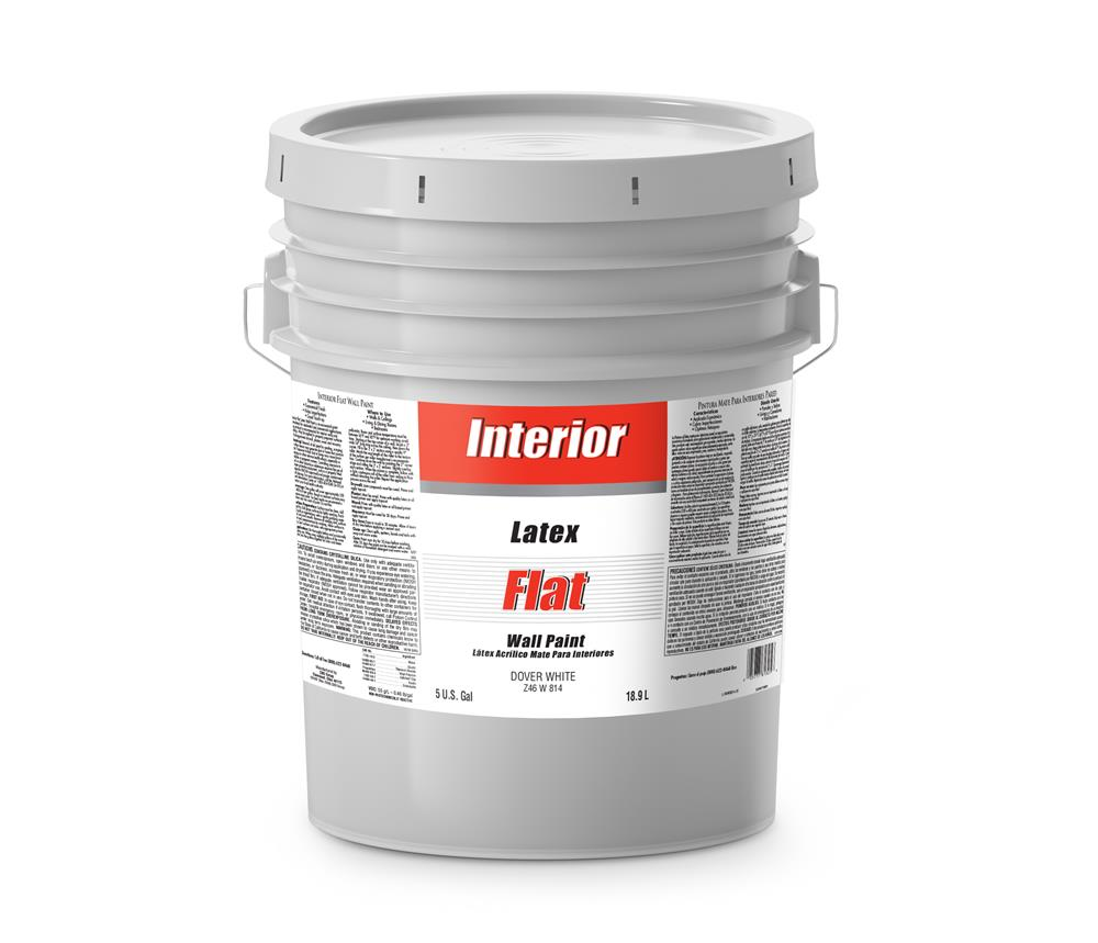 Interior Latex Flat Paint Dover White 5 Gallon