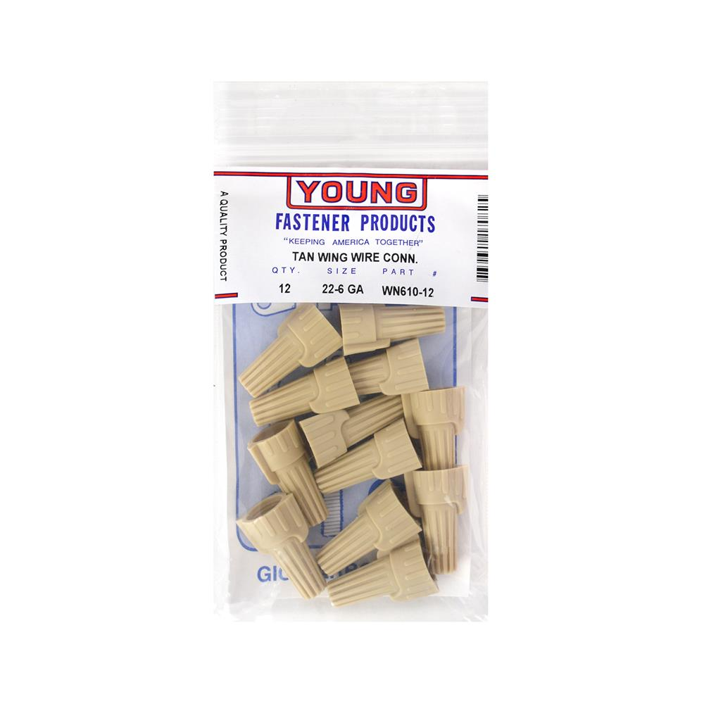 Young Fastener Products - 22-8 Wire Nut Tan Wing (12-Pack)