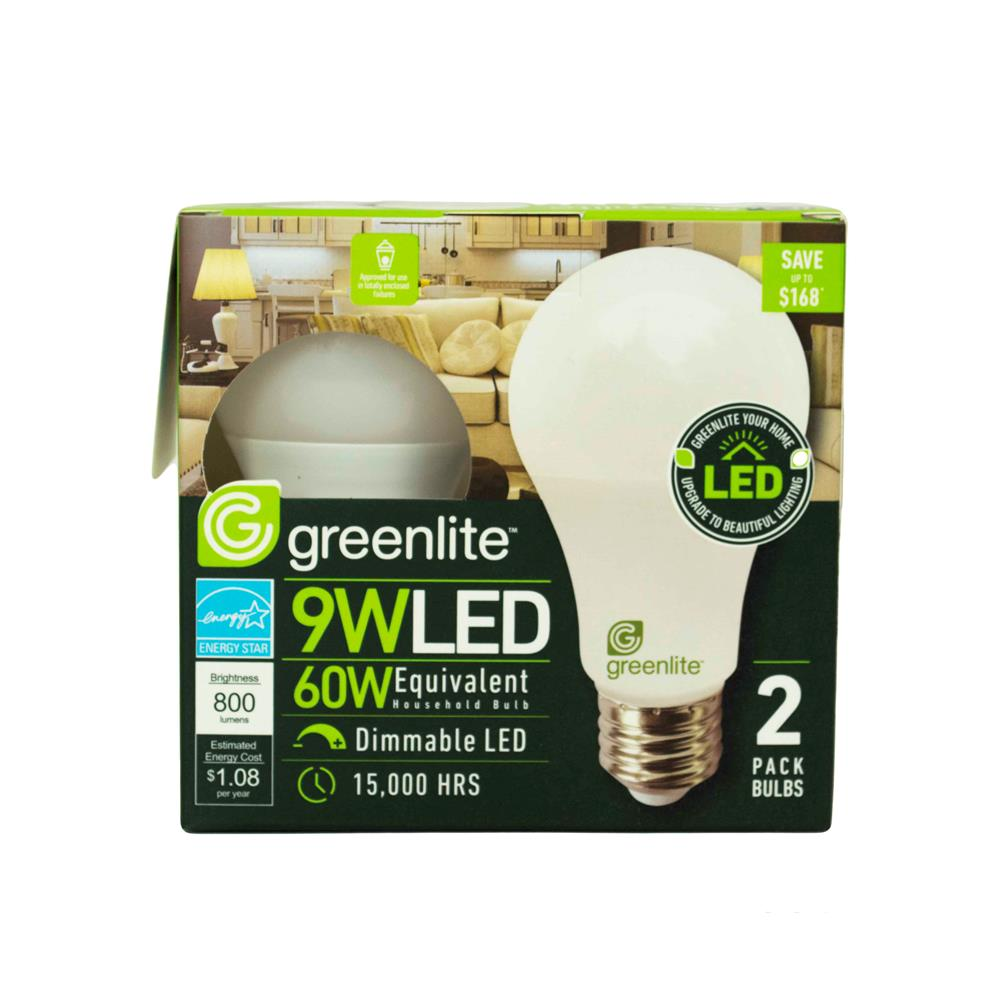 Double tap to zoom  sc 1 st  McLendon Hardware & Greenlite - 9W LED Omni-Directional A19 Light Bulbs (2-Pack)