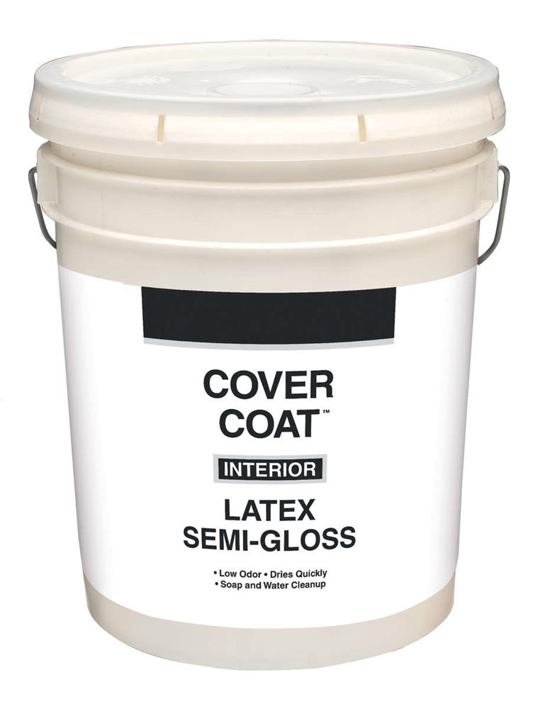 Cover Coat Interior Latex Paint Semi Gloss White 5 Gallon