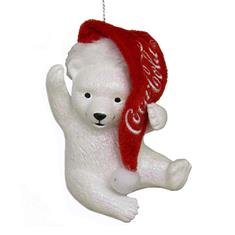 Coca-Cola Polar Bear Cub with Hat Ornament